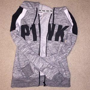PINK black and white zip up hoodie